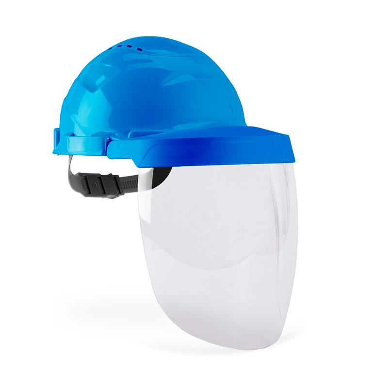 Capacete azul e viseira com lente policarbonato resistente