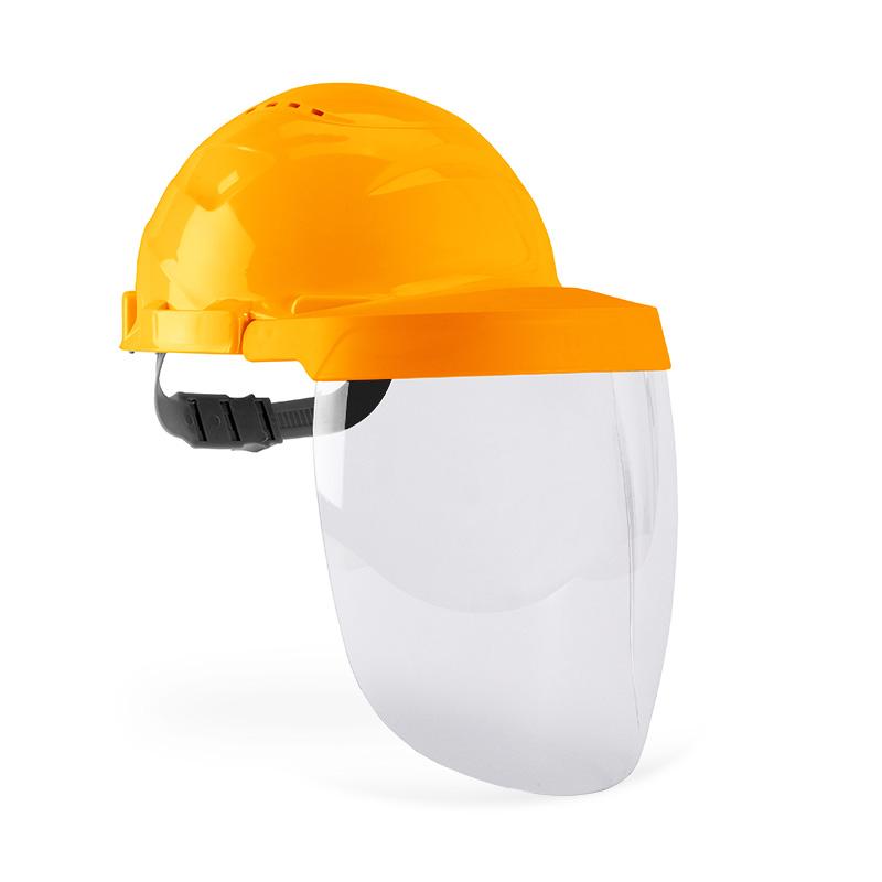 Capacete laranja e viseira com lente policarbonato resistente
