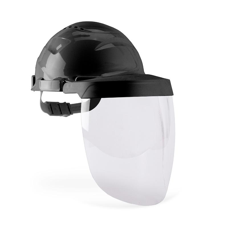 Capacete preto e viseira com lente policarbonato resistente