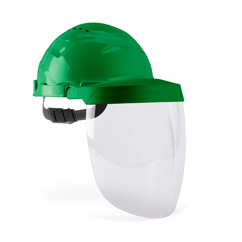Capacete verde e viseira com lente policarbonato resistente