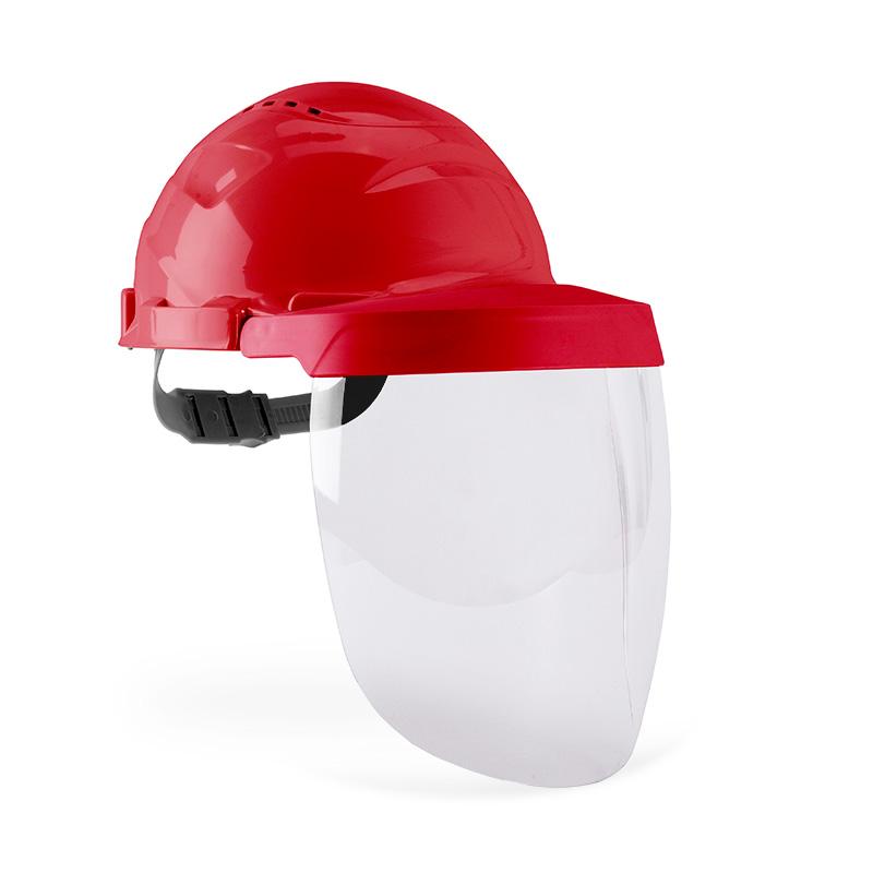 Capacete vermelho e viseira com lente policarbonato resistente