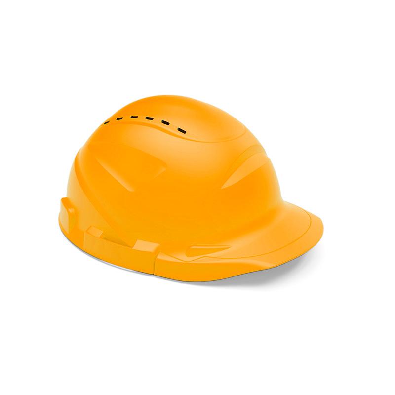 Capacete laranja de proteção