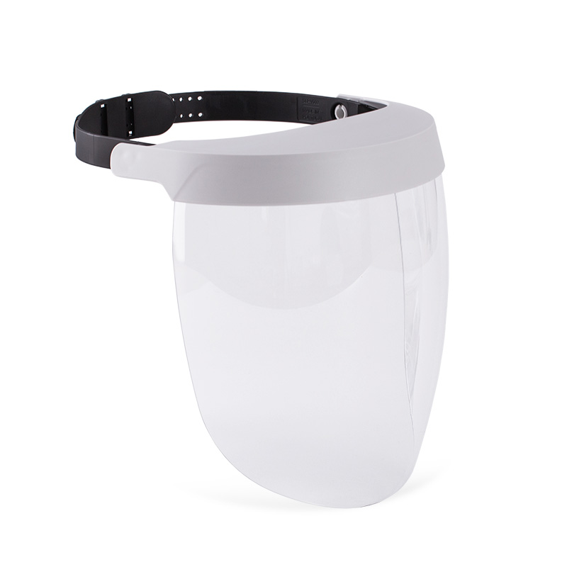 Viseira branca com lente policarbonato resistente